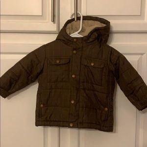Land's End Toddler Boys Brown Plaid Winter Jacket